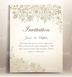 classical floral hand draw wedding invitation, royalty-free stock vector art