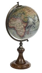 """Antique Reproduction Vaugondy Globe An early example of Didier Robert De Vaugondy's work, this 18th Century Globe is filled with interesting detail. What did we think the world looked like in 1745? A beautiful history lesson indeed!  A classic French globe stand in a rich and perfect match of ebonized wood and bronze. Solid and still fragile, elegant and imposingly present. Beauty is in the eye of the beholder…   A rich classic table stand Solid brass hardware bronzed  24"""" high x 13.5""""…"""