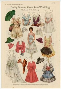 Betty Bonnet Goes to a Wedding: The Bride paper doll 1918 Artist ...