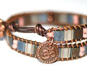 Double Mocha Leather Wrap Tila Bead Handmade Bracelet