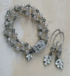❥ The Holly Bracelet in Gray . Czech Glass, Sterling Silver, Rhinestones . Antiquities . Tippy Stockton