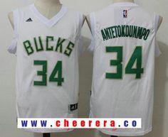 c4b95843635 Men s Milwaukee Bucks  34 Giannis Antetokounmpo All White Stitched NBA  adidas Revolution 30 Swingman Jersey