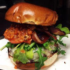 "@alejandrogomez199's photo: ""Burger with habanero relish, bacon, tomato, onion, arugula, smoked cheddar #burger #burgerporn #cheese #habanero #spicy #mexican #bacon"""