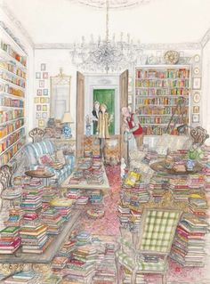 The Bookaholic; Artist: Sue Macartney-Snape; Hay Festival of Literature and the Arts (Wales, 2012) [some self-recognition here]