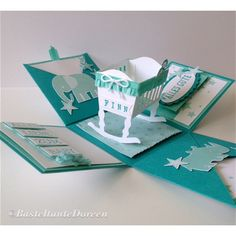 Explosion Box for Birth with Stampin & Zoobabies, You& ., Jade, Bundled Baby, A . Baby Shower Cards, Baby Shower Parties, Diy Birthday, Birthday Cards, Diy Exploding Box, Card In A Box, Baby Box, Shaped Cards, Easel Cards