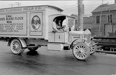 Fisher Flouring Mills truck on Spokane Street, 1918 by Seattle Municipal Archives, via Flickr