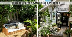 Before + After: Back Garden Sofa — The Tiny Canal Cottage Small Courtyard Gardens, Small Courtyards, Back Gardens, Compost Tumbler, Tropical Bedrooms, Ficus Tree, Garden Sofa, Garden Doors, Custom Sofa