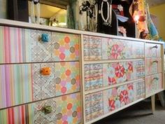 furniture- what to do with a boring dresser. 1960s Furniture, Furniture Redo, Furniture Design, Decor Ideas, Craft Ideas, Diy Projects To Try, Cool Wallpaper, Set Design, Dresser