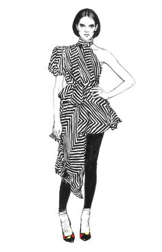 Fashion illustration - monochrome fashion sketch // Diana Kuksa