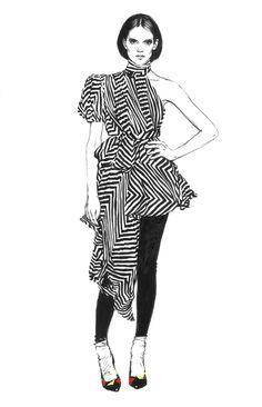 Fashion illustration - monochrome fashion sketch // Diana Kuksa