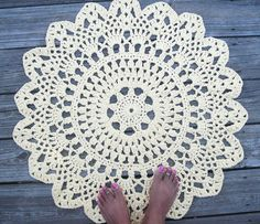 Items similar to Yellow Cotton Crochet Doily Rug in Circle Lacy Pattern Non Skid on Etsy Crochet Doily Rug, Crochet Carpet, Crochet Rug Patterns, Cotton Crochet, Crochet Home, Crochet Gifts, Diy Crochet, Vintage Thanksgiving, Patterned Carpet