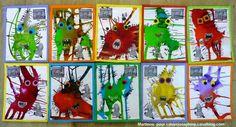 créer des monstres avec de l'encre Fun Crafts, Crafts For Kids, Arts And Crafts, Theme Halloween, Monster Face, Ecole Art, Art Plastique, Elementary Art, Art Techniques