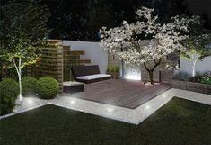 When designing your backyard, don't forget to carefully plan your lighting as well. Get great ideas for your backyard oasis here with our landscape lighting design ideas. Landscaping With Rocks, Modern Landscaping, Front Yard Landscaping, Landscaping Ideas, Modern Backyard, Backyard Patio, Landscape Lighting Design, Garden Seating, Garden Inspiration