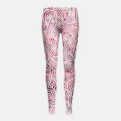 """""""Red and white zentangles"""" Girl's Leggings by Savousepate on Live Heroes #leggings #leggins #pants #kidsclothing #kidsapparel #pattern #graphic #modern #abstract #doodles #zentangles #scrolls #spirals #arabesques #burgundy #red #white #pink"""