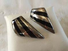 925 Sterling Silver Bayanihan Modernist Onyx Stripe Pierced Earrings, Abstract by SweetBettysBling on Etsy
