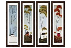 Warren Kimble, Four Seasons, folk art paintings