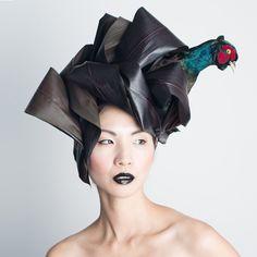Takaya incorporates taxidermy into botanical headdresses
