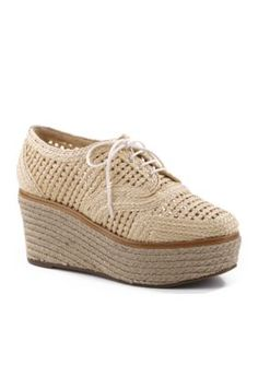 Schutz Women's Jules Platform Crochet Shoe - White - 9.5M