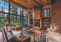 The factory-style windows in a Lake Tahoe, California living room.