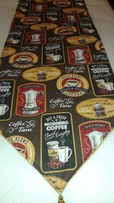 Coffee Themed Reversible Handmade Table Runner 72 X14