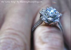 """The handcrafted """"Lotus Ring"""" by BloomingBeautyRing.com is truly a beautiful and unique ring! View many more unique Flower Rings and other gorgeous diamond engagement rings on our website. #UniqueRings"""