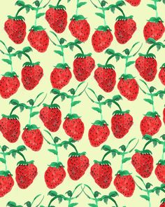 Strawberries. #pattern #illustration #fruit