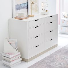 Keep clothes neatly tucked away with this spacious dresser. Beautifully handcrafted with a lasting finish, this piece will transform your room into a chic and organized space. Teen Dresser, 8 Drawer Dresser, Bedroom Dressers, Vanity Drawers, Bedroom Decor For Teen Girls, Cute Bedroom Ideas, Teen Girl Bedrooms, Bedroom Inspo, My New Room