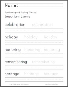 Important Events Handwriting and Spelling Worksheet - Free to print (PDF file).