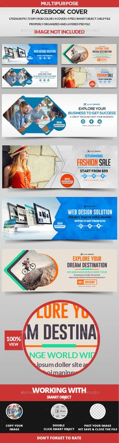 Facebook Cover - 4 Design Templates PSD. Download here: http://graphicriver.net/item/facebook-cover-4-design/16826917?ref=ksioks