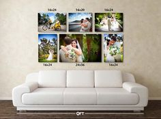 Notice the sizes, an 8x10 will not look as stunning over the couch