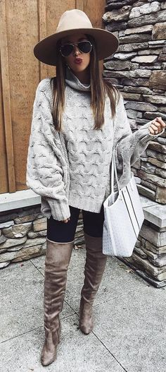 cozy outfit inspiration / hat + grey knit sweater + bag + jeans over knee boots