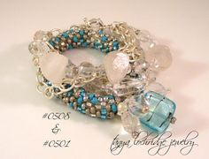Rough & polished crystal quartz multi-strand bracelet looks stunning styled with this aqua-silver Czech glass stackable bangle bracelet. Yes, that is a lampwork bead & crystal quartz, too!