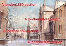 A346 VINTAGE BRITISH POSTCARD View outside MERTON COLLEGE Oxford ART painting