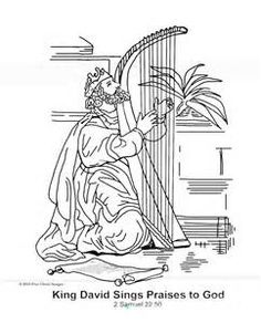 King David Sings Praises To God Coloring Page