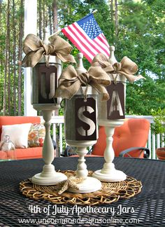 4th of July Apothecary Jars... a stylish way to decorate for the Fourth of July!  www.uncommondesignsonline.com