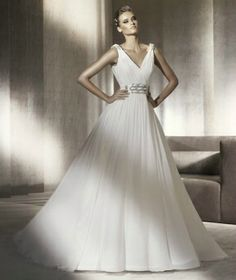 Chiffon A-Line Deep V-Neckline Gathered Bodice Wedding Dress