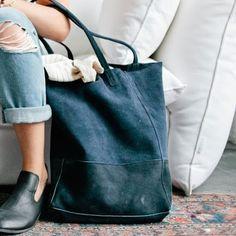 Dusty Midnight Blue Suede Bucket Bag // Sseko Designs #ethicalfashion #ssekostyle