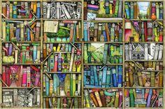 """Bazaar Bookshop"" ~ a 500 piece jigsaw puzzle by Ravensburger Puzzles (June Ravensburger Puzzle, Modern Cross Stitch, Cross Stitch Kits, Wooden Puzzles, Jigsaw Puzzles, Wooden Jigsaw, Poster Online, Wall Bookshelves, Bookcases"