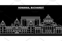 Romania flat icon, romanian line banner by urban icon on Travel Illustration, Graphic Illustration, Illustrations, Urban Icon, Romania Bucharest, Outline Designs, Banner Design, Buildings, Skyline