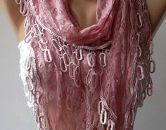 light pink and lace jewelry | Lace scarf,light pink scarf,Mother& #39;s Day Gift ...