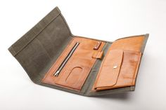 Italian Leather Canvas Wallet Torino by Levelprojects on Etsy