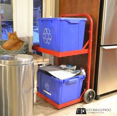 DIY Recycling Centre - A beginner build Kitchen Garbage Can Storage, Clever Kitchen Storage, Bathroom Storage Solutions, Recycling Storage, Recycling For Kids, Recycling Center, Hamper Cabinet, Wood Trash Can, Trash Can Cabinet