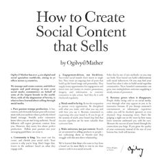 How to Create Social Content that Sells Small Business Marketing, Content Marketing, Social Media Marketing, Digital Marketing, Advertising Quotes, Advertising Sales, Ogilvy Mather, Best Ads, Graphic Design Tips