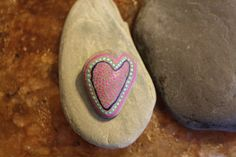 Painted small beach rock- heart