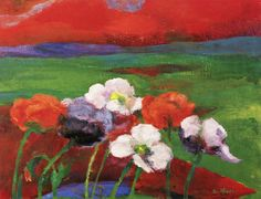 Poppies and Red Evening Clouds, Emil Nolde 1949