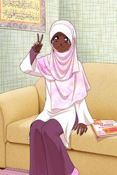 Just learn about it by Nayzak Black Girl Art, Black Women Art, Art Girl, Muslim Girls, Muslim Women, Hijab Drawing, Islamic Cartoon, Anime Muslim, Hijab Cartoon