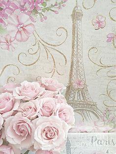 Digital Art - Shabby Chic Pink Roses Eiffel Tower - Parisian Pink Roses Eiffel Tower Decor by Kathy Fornal , Pink Paris Wallpaper, Paris Clipart, Decoupage, Parisian Decor, Digital Art Photography, Paris Pictures, Shabby Chic Pink, Paris Art, Beautiful Posters