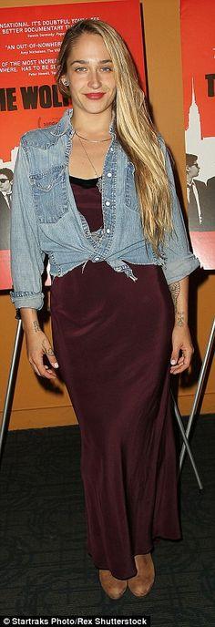 Jemima Kirke, 30, kept it simple in a maroon satin dress...