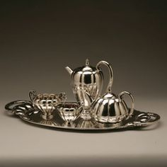Georg Jensen Coffee and Tea Service no 179 on tray no 159. Exceptionally Rare , Handmade Sterling Silver - Gallery 925
