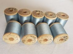 9 Belding Corticelli Sewing Silk Wooden Spool Thread Baby Blue Shade 6115 Sz A Wooden Spools, Silk Thread, Baby Blue, Shades, Sewing, Ebay, Dressmaking, Couture, Stitching